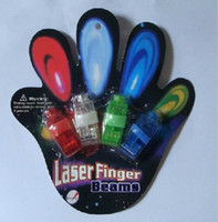 Wholesale 100pcs x Color LED laser finger beams party Light up finger ring laser lights with blister package