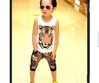 Boy 2-7 year old  Summer 2013 Summer children clothes tiger head Short sleeve T shirt+leopard print Haroun pants 2pcs boys kids suit