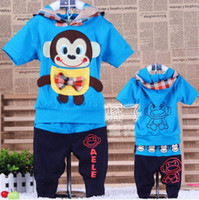 Wholesale Lowest Price Summer Monkey short sleeve baby clothes children suit Boys Girls baby children s clothing