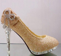 Lace Appliqued High Heel Sparkling Gold Red Fashion High Heels 10cm Heels Waterproof Prom Evening Party Lady wedding shoes