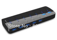 Wholesale 7 Port USB Hub High Super Speed for Laptop PC Mac Black New