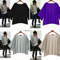 Wholesale Women Fashion batwing sleeve Loose Leisure Asymmetric Hem blouse Cotton Blends T shirt D0020