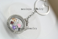 Wholesale detachable magnetic L stainless steel glass memory locket floating charms key ring chain floating charms and locket not included