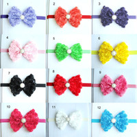 Hairband rosettes chiffon - Super Beautiful Baby Girls Hair Accessories Rosette Chiffon Bow Pearl Hair Band Vintage Kids Children Headband Adorable Multicolor