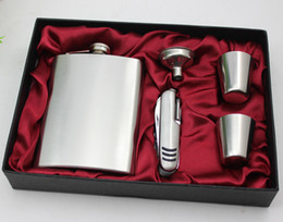 8 oz stainless steel hip flask with 11 function knife and 4 cups and funnel in gift box packing