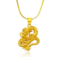 alluvial gold - New listing China Dragon K gold plated necklace jewelry imitation gold alluvial gold pendant in Yunnan