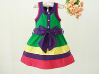 Wholesale 6 Cotton Girl Dress Color Matching Jumper Skirt BD
