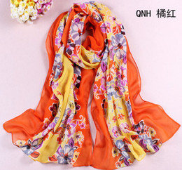 Wholesale 2013 NEW cm Early Summer Fine Georgette Silk Scarf Floral Flowers Printing Ladies Essential Women Girl Chiffon Scarves