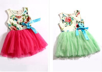 Wholesale 2014 summer new children s clothing flowers lace roses Skirt Floral girls dress Cute Sweet Red Green pink baby kids tutu dresses