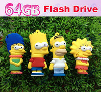Wholesale 64GB simpsons Cartoon USB Flash Memory Pen Drive Sticks Thumb Drives Disks Discs GB Pendrives Thumbdrives Hot
