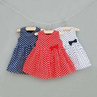 TuTu Summer A-Line Girls Cute Polka Dot Dresses Children Clothing Jumper Skirt Baby Summer Dress Casual Dresses Fashion Bowknot Princess Dress Kids Clothes