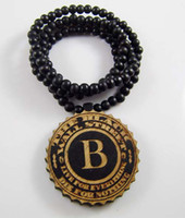 wood b beaded necklaces - WOOD Necklace GOOD NYC Hip Hop Crazy B Pendant Beaded Rosary Jewelry Factory Cheap Price Christmas Gift C0350