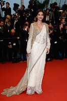 Regular customer made size Reference Images New Evening dresses Sonam Kapoor stunning Anamika Khanna Couture white lace gown red carpet 2013 Cannes Film Festival Celebrity Dresses