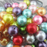 Wholesale Mix colors mm chunky round acrylic pearl beads jewelry round abs necklace pearl gumball beads for DIY jewelry