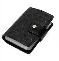 Wholesale 1PCS Black Leather Business ID Name Card Holder Case Bag