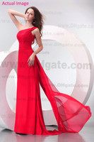 Model Pictures Court Train Chiffon 2013 Beach Grecian Simple Red One Shoulder Bridesmaid Dresses Party Dresses Sheath Chiffon Ruched Court Train Prom Evening Dresses