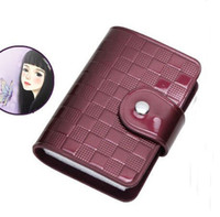 1PCS Purple Leather Business ID Name Card Holder Case Bag #2...