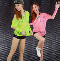 Wholesale Jazz dance fluorescent hollow mesh tops shirt DS hip hop dancer costumes sexy night club stage wear