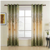 Wholesale Two Panels Green Maple Leaf Energy Saving Curtains