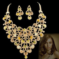 Gift african jewelry making - luxurious wedding Jewelry set made with AAA Brown green cubic zirconia NJ banquet party modelshow birthday anniversary gift Rihood