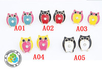 Wholesale Hot Fashion color lovely owl golden multicolour oil drip crystal stud earrings pair