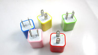 Wholesale US EU Plug For IPAD USB Wall Travel Charger Adapter for Android Tablet PC AC Power Candy Colors By Post