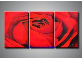 2017 100 Hand Paint 3 Panel Canvas Art Red Ross Painting Wall Art Home Decor High Quality On Discount From Fineart 46 24 Dhgate Com