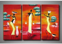One Panel Oil Painting Abstract 100% handmade modern 3 panel wall art canvas abstract african canvas art landscape decoration home gift free shipping