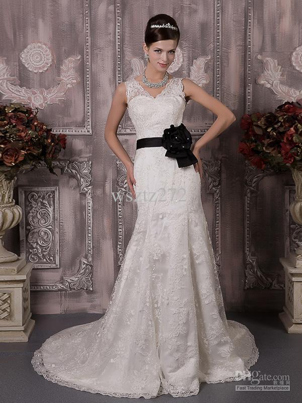 Black Rose Wedding Dresses : Black rose waist decoration white lace sequined wedding dress free