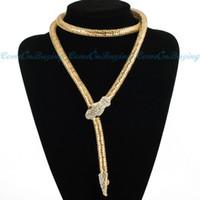 al por mayor collar de serpiente de dos-Cadena larga de las mujeres de la serpiente Blanco Rhinestone babero colgantes de moda collar BRAZALETE EXTRA LARGO COLLAR DOS FORMAS Oro Plata