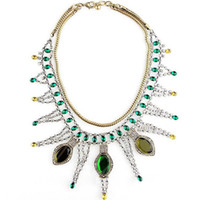 antique absinthe - Shiny crystal layered absinthe necklace vintage jewelry antique bronze finish women choker gift fashion necklace
