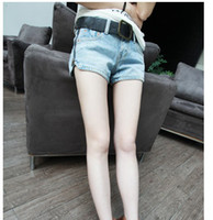 Women Classic Straight Shredded / Ripped free shipping women's fashion The side zipper color washed denim hot shorts jean
