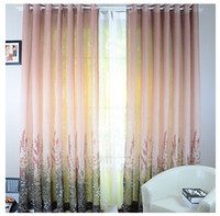 Wholesale Two Panels Champagne Flowers Sheer Curtains
