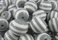 Wholesale Fashion mm gray stripe resin beads for chunky necklace