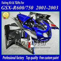 Wholesale 7gifts motorcycle fairings for SUZUKI GSXR K1 GSXR600 GSXR750 R600 R750 black blue fairing kit aa7