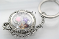 Wholesale detachable floating charms large glass locket key rings keychains mother s day gift no flaoting charm