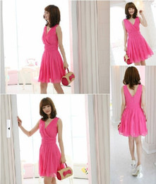 Wholesale 2013 In Stock Hot Pink Black Pink Cheap V neck Mini Short Chiffon Ruffles Bridesmaid Dresses Party Cocktail Dress Gown