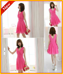 Wholesale 2013 In Stock Hot Pink Black Pink Lovely V neck Mini Short Chiffon Ruffles Bridesmaid Dresses Party Cocktail Dress Gown