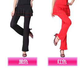 Wholesale 2013 Summer Hot New Pantskirts Latin Dancing Skirtpants M L XL Sizes Black Red Double Layers Classical Dance Pants Square Dancing Pantskits