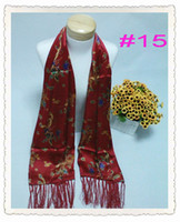 Wholesale Fashion New Red mulberry silk printing Women s Men s shawl scarves Long Wraps x55cm
