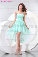Model Pictures Ruffle Sleeveless 2013 Beach Mint Green Bridesmaid Dresses Chiffon Hi Lo High Low Sheath Sweetheart Ruched Bodice Prom Graduation Dresses Party Dresses