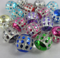 Acrylic, Plastic, Lucite 100pcs/lot acrylic 20mm Free shipping jewelry uv coated round polka dot design chunky necklace acrylic beads 100 pcs lot