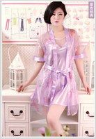 Wholesale Ladies womens Silk Satin Pajama Lingerie Sleepwear Robe Kimono Sexy sleepwear in set