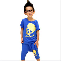Skeleton Christmas Boy Outfits for Baby Boys Summer Kids Suits Children Clothes Short Sleeves Cool Skeleton Creative Printing Casual Sets Round Neck Cheap E29