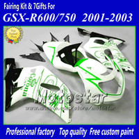Wholesale 7gifts motorcycle fairings for SUZUKI GSXR K1 GSXR600 GSXR750 R600 R750 white green Corona fairing kit aa12