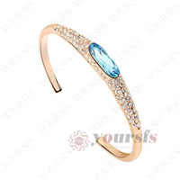 Wholesale Lady Jewelry Sapphire Bangle K Rose Gold Plated Used Swarovski Crystal lovely charm Bracelet B050R2