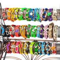 Wholesale New Fashion Leather Bracelets Handmade Wrap Bracelets with PVC Faux Leather Bracelet Mix Design JB03004M