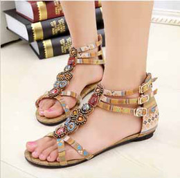 Wholesale summer new women sexy fashion lovely shoes Bohemian gemstone beaded sandals flat shoes