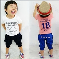 3-8 year old  Boy Summer New arrival children's summer suits baby boy outfit 2 piece set cute cheap clothing baby cotton 2013 new products t shirt + pants