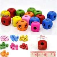 Wholesale MIXED Alphabet LETTER WOOD BEADS Craft MM X MM